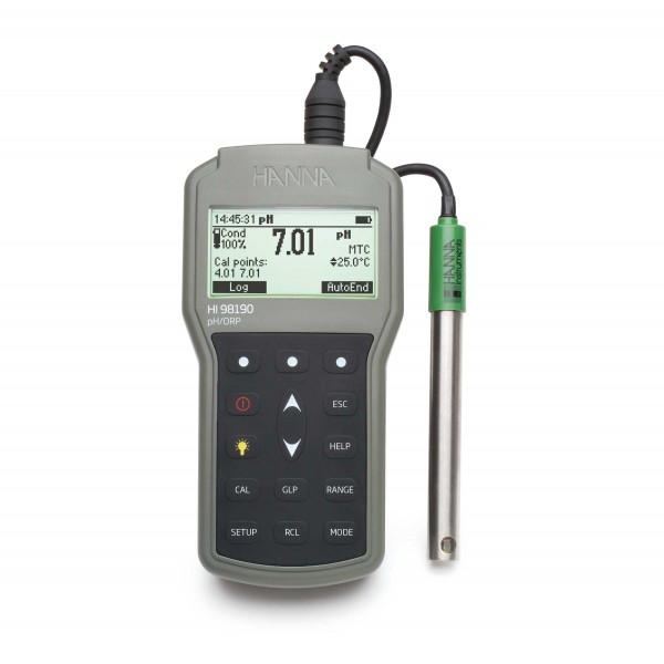 pHmetro portátil (pH/ ORP) impermeable para Muestras baja CE o viscosas, registro con salida USB, precisión milesimal