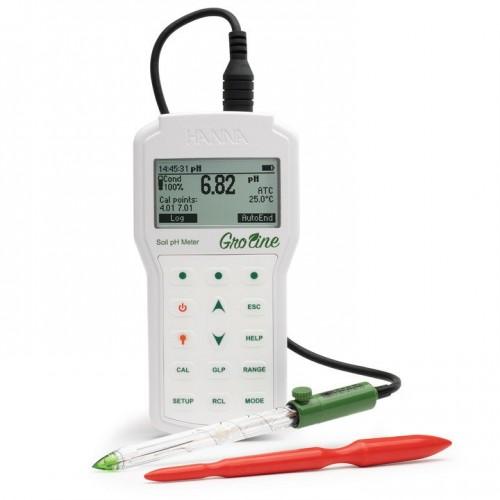 pHmetro portátil pH/mV/Temp con electrodo de vidrio, diseñado para medidas en suelo