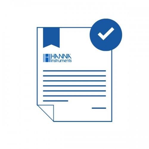 Certificado de calibración trazable a ISO Guía Cloro en 1 punto