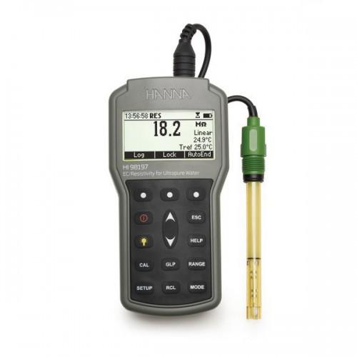 Medidor portátil (CE/ TDS/ Resistividad/ Salinidad/ Temp) impermeable para baja CE, registro con salida USB, precisión milesim